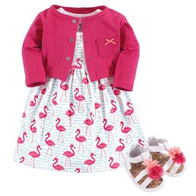 Hudson Baby Infant Girl Cotton Dress, Cardigan and Shoe 3pc Set, Bright Flamingo