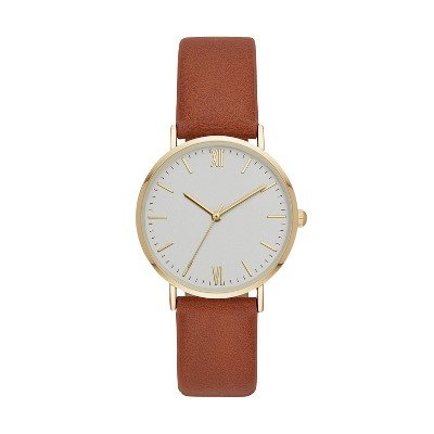 Women's Classic Roman Strap Watch - A New Day™ Gold/Brown