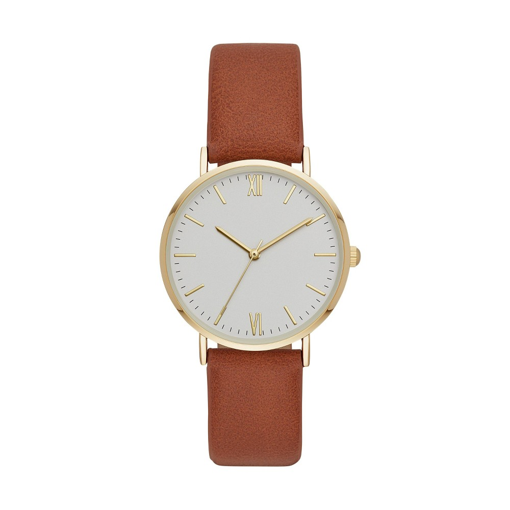 Women S Classic Roman Strap Watch A New Day 8482 Gold Brown