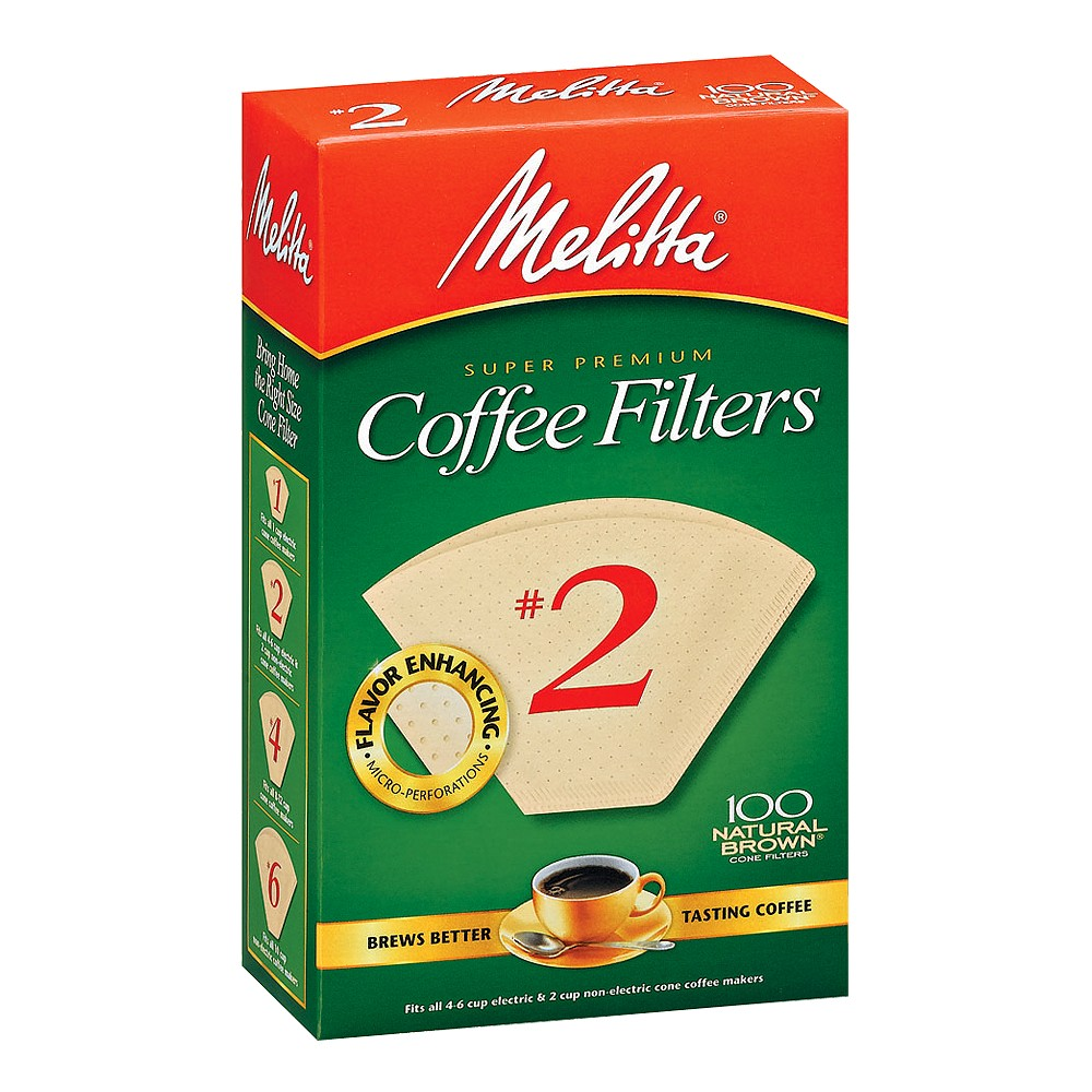 Image of Melitta 100ct Coffee Filters - Natural Brown, White