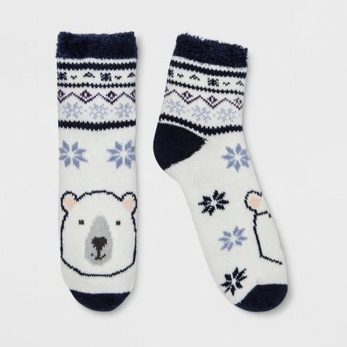 Women's Polar Bear Double Lined Cozy Ankle Socks - Gilligan & O'Malley™ Ivory One Size - image 1 of 1