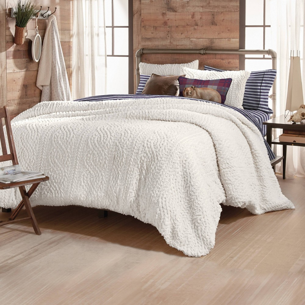 King 3pc Cable Knit Pinsonic Sherpa Comforter Set Ivory G H Bass