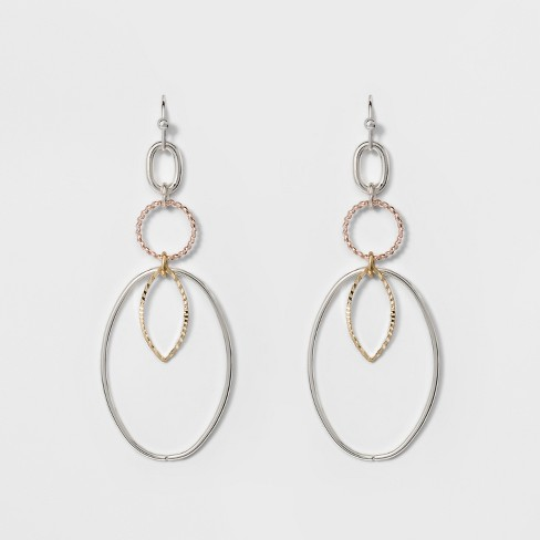 9efa6aecf068 Thin Wire Ovals Earrings - A New Day™ Silver Rose Gold   Target