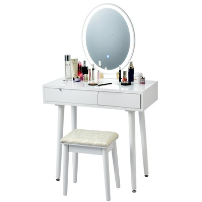 Costway Vanity Makeup Table Touch Screen 3 Lighting Modes Dressing Table Stool Set White\Black\ Gray