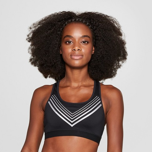 Women's Power Core Striped Compression Racer Back Sports Bra - C9 Champion® Black/Silver - image 1 of 2
