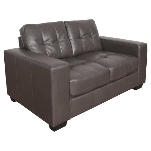 Club 2pc Tufted Brownish Gray Bonded Leather Sofa Set Corliving Target