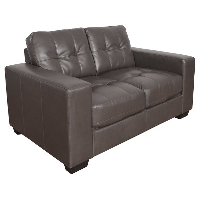 Club 2pc Tufted Brownish   Gray Bonded Leather Sofa Set   Corliving : Target