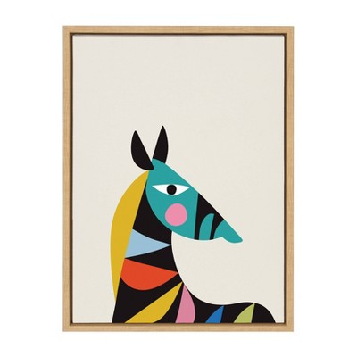 "18"" x 24"" Sylvie Mid Century Modern Baby Zebra Framed Canvas Wall Art by Rachel lee Natural - Kate and Laurel"