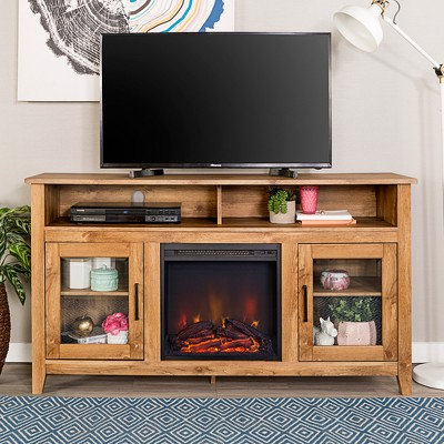"""Ackerman Modern Transitional Tall with Electric Fireplace TV Stand for TVs up to 65"""" - Saracina Home"""