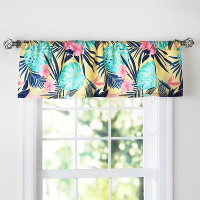 Lakeside Tropical Paradise Window Valance Treatment - Floral Kitchen Accent