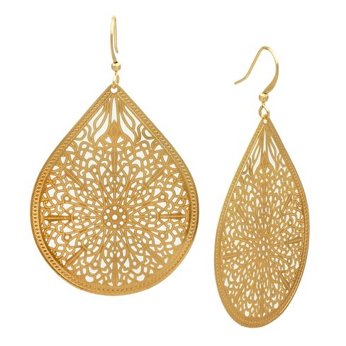 Filigree Teardrop Drop Earring Gold