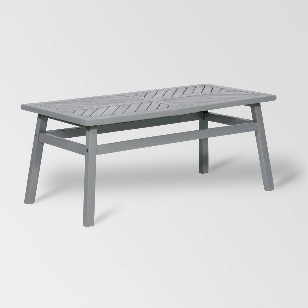 Outdoor Chevron Coffee Table - Gray Wash - Saracina Home
