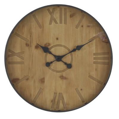 "32"" Rustic Wall Clock Black - Olivia & May"