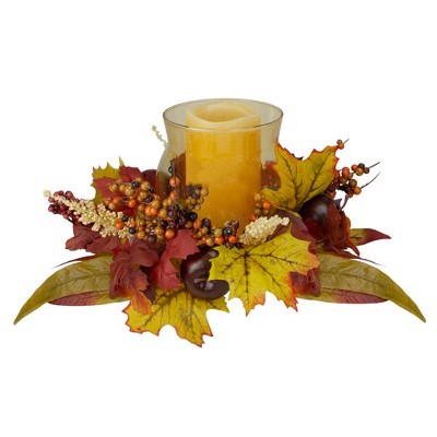 "Northlight 15"" Fall Apple and Berry Glass Hurricane Pillar Candle Holder Centerpiece"