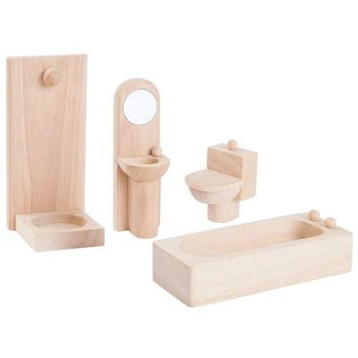 Plan Toys Classic Bathroom Dollhouse Accessory Set - 4 Pcs