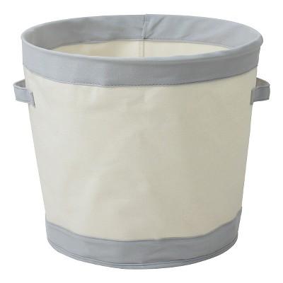 Round Collapsible Canvas Toy Storage Bin Gray   Pillowfort™