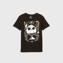 Boys' Short Sleeve Disney The Nightmare Before Christmas Jack Flip Sequin Halloween T-Shirt - Black