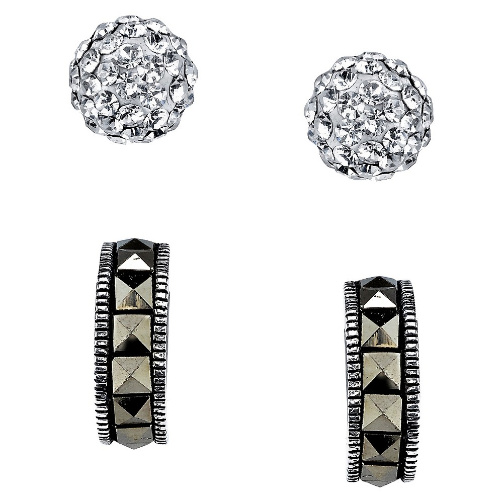 Silver Plated Marcasite and Crystall Pave Ball Duo Earring Set, Women's, Silver/Metallic