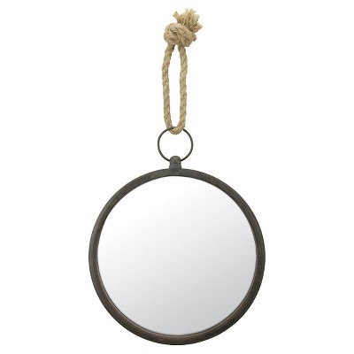 Round Nautical Decorative Wall Mirror with Rope Hanger Silver Gray - CKK Home Decor