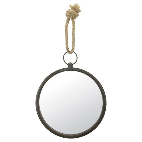 Round Nautical Decorative Wall Mirror with Rope Hanger Silver Gray - CKK Home Decor - image 1 of 5