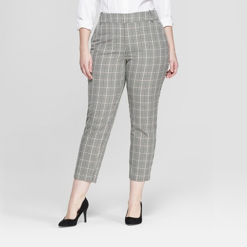 a7cbf26dd7727 Women s Plus Size Plaid Comfort Waistband Plaid Ankle Pants - Ava   Viv™  Gray