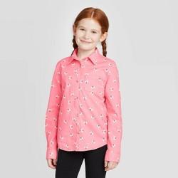 Girls' Bee Print Long Sleeve Button-Down Shirt - Cat & Jack™ Medium Pink