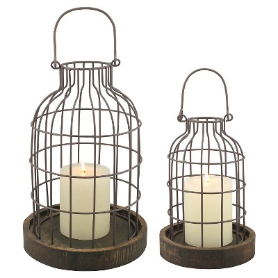 Stonebriar Industrial Metal Cage Cloches with Rustic Wooden Candle Holder Base - Set of 2