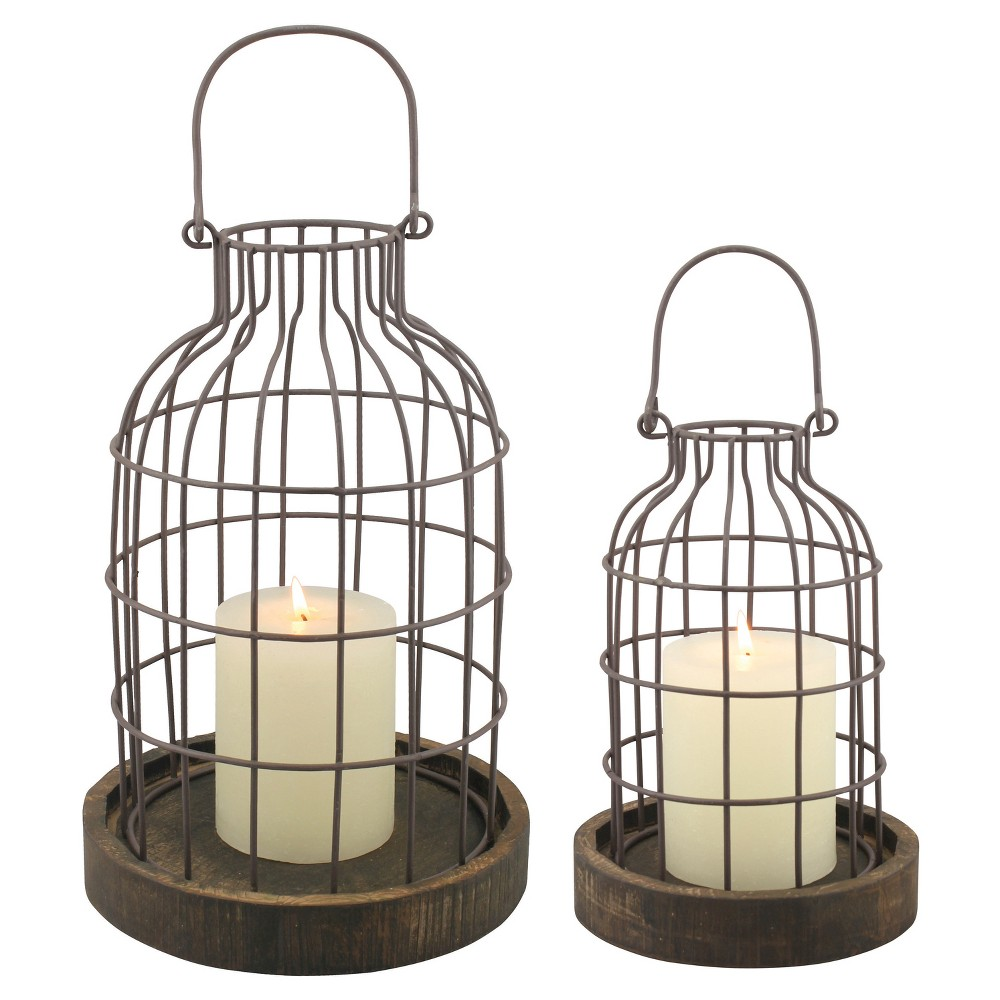 Stonebriar Industrial Metal Cage Cloches with Rustic Wooden Candle Holder Base - Set of 2, Brown
