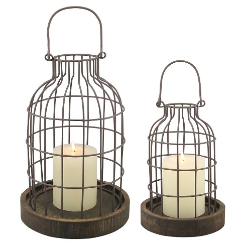 Stonebriar Industrial Metal Cage Cloches with Rustic Wooden Candle Holder Base - Set of 2 - image 1 of 3