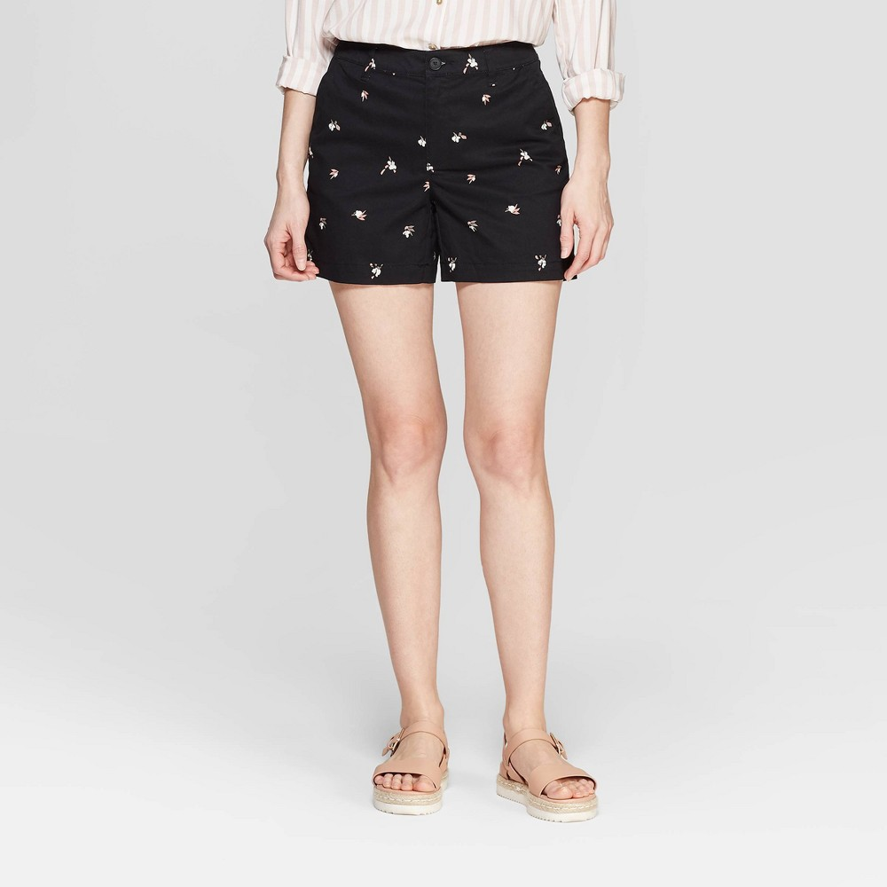 Women's Floral Print High-Rise Chino Shorts - A New Day Black 18
