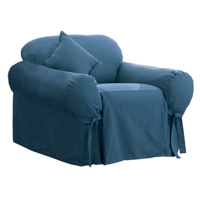 Cotton Duck Chair Slipcover Blue Stone - Sure Fit