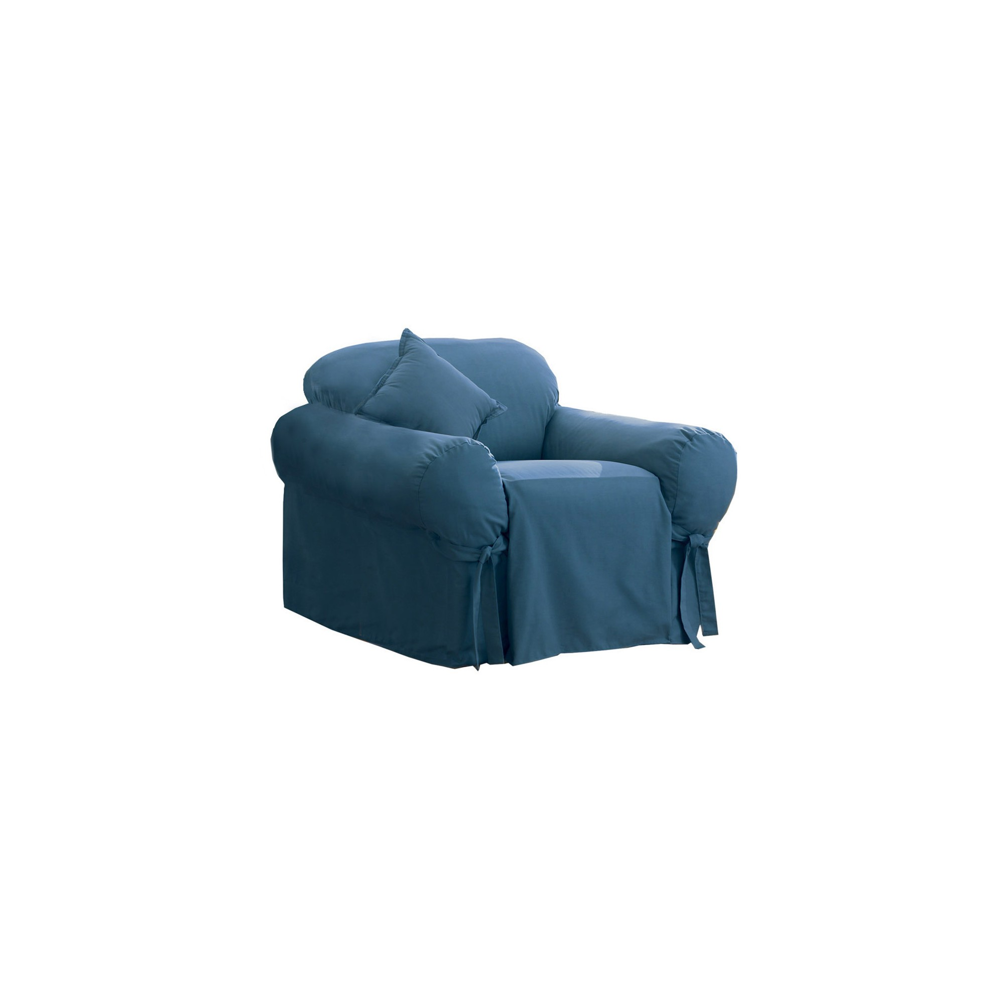 Cotton Duck Chair Slipcover Blue Stone - Sure Fit, Blue Grey