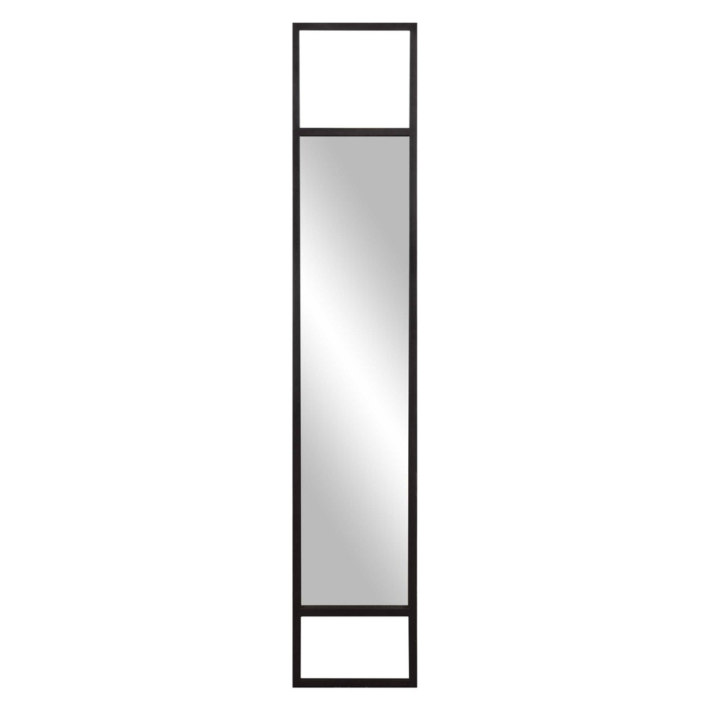 "Image of ""12"""" x 63"""" Minimalist Cut Out Wall or Leaner Mirror Metal - Patton Wall Decor, Black"""
