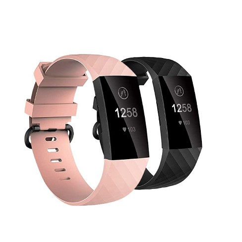 Insten 2-Pack Soft TPU Rubber Replacement Band For Fitbit Charge 4 & Charge 3, Black+Pink - image 1 of 4