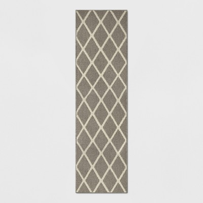 Warm Gray Diamond Tufted and Hooked Washable Runner 2'X7' - Threshold™