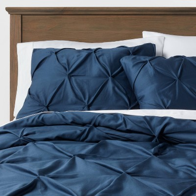 Dark Blue Pinched Pleat Comforter Set (Full/Queen)3pc - Threshold™