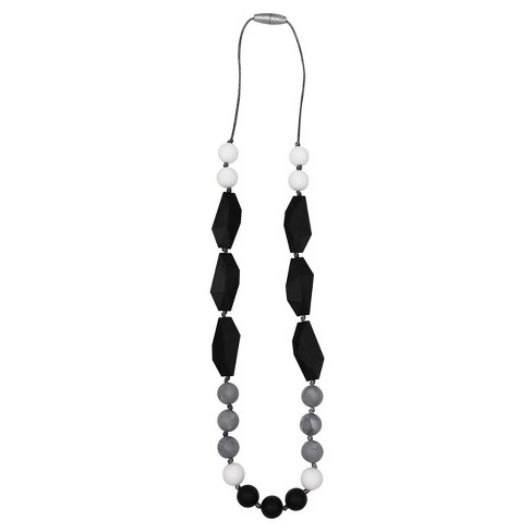 Itzy Ritzy Silicone Teething Necklace -Black/Gray/White Luxe Opal - image 1 of 3