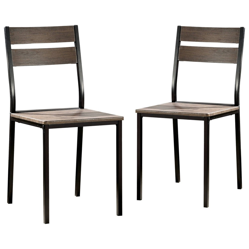 Image of Set of 2 Verve Metal Dining Chair Antique Brown - ioHOMES
