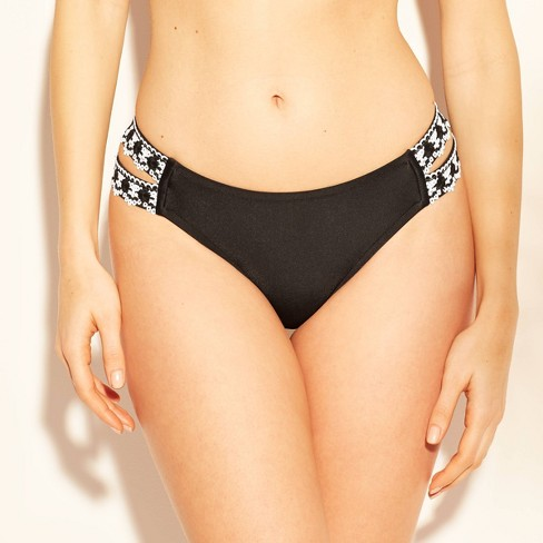 Women's Medium Coverage Crochet Trim Double Tab Bikini Bottom - Kona Sol™ Black - image 1 of 6