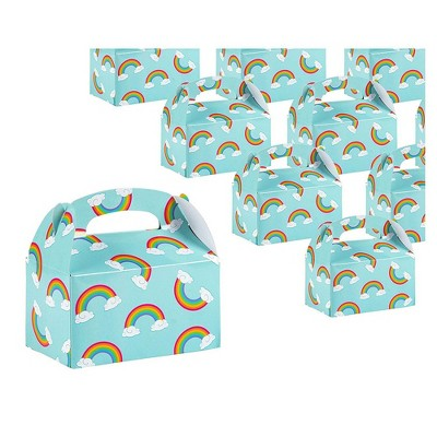 24-Pack Paper Party Favor Boxes, Pride Rainbow Design for Birthdays and Events, Gable Boxes, 6x3x3 inches