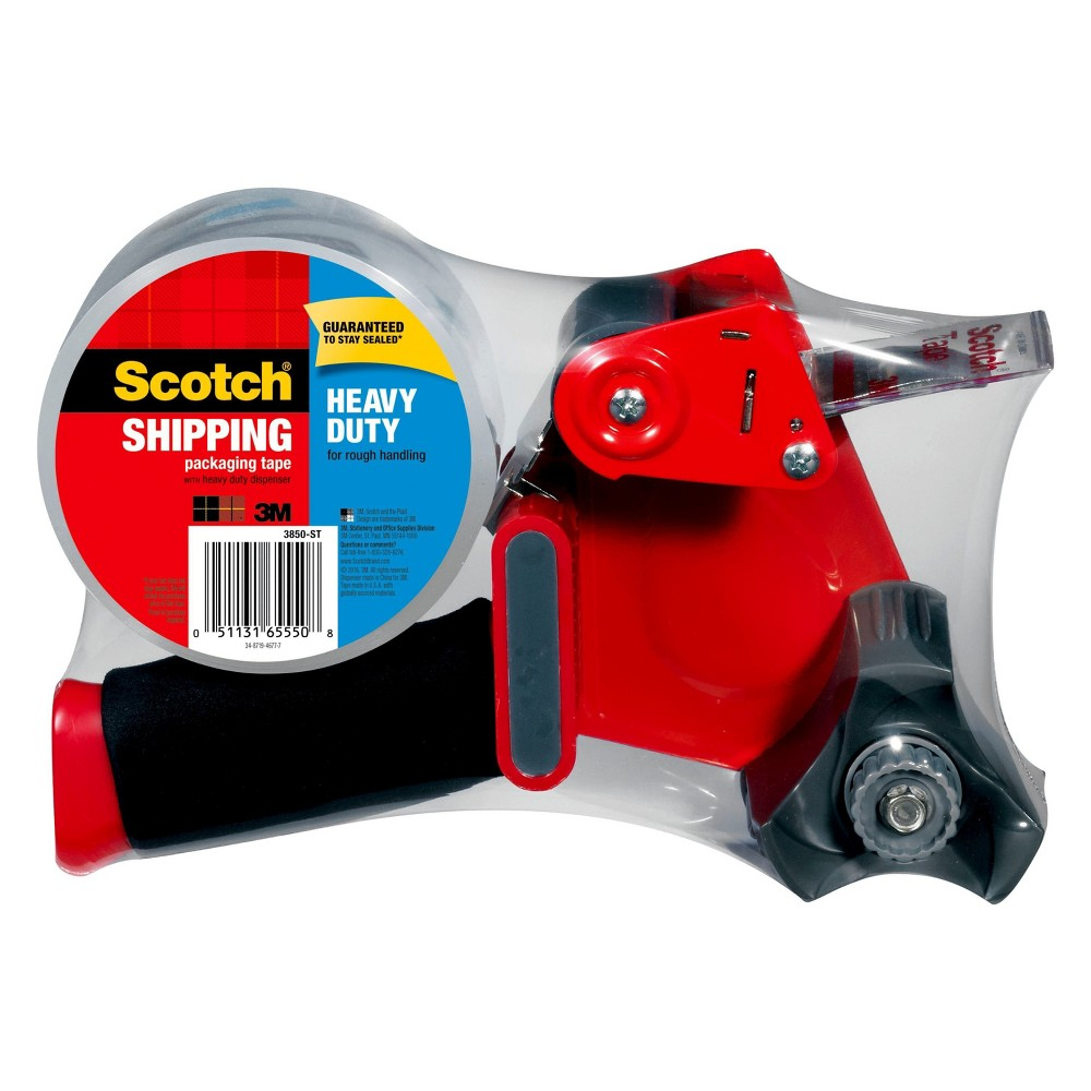 Image of Scotch Packaging Tape with Dispenser - Red, Clear