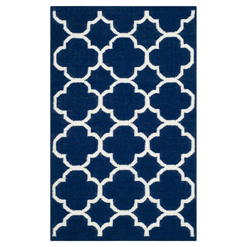 York Dhurrie Accent Rug - Navy (Blue) / Ivory (2'6 X 4') - Safavieh