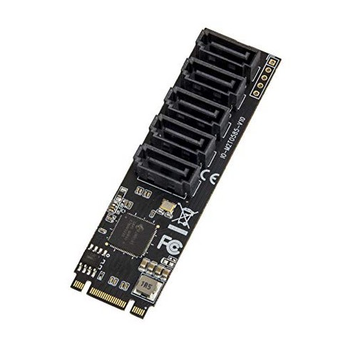 IO Crest Internal 5 Port Non-Raid SATA III 6GB/s M.2 B+M Key Adapter Card for Desktop PC Support SSD and HDD. JMB585 Chipset - image 1 of 1