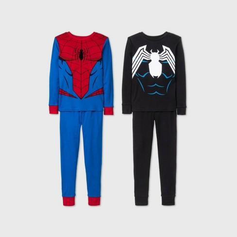 Boys' Marvel Spider-Man 4pc Pajama Set - Blue/Black - image 1 of 1