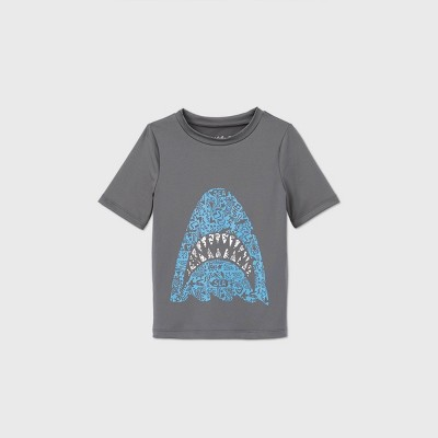 Toddler Boys' Shark Graphic Short Sleeve Rash Guard - Cat & Jack™ Gray