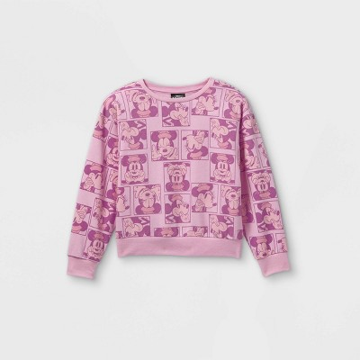 Girls' Disney Minnie Mouse Cropped Pullover Sweatshirt - Pink