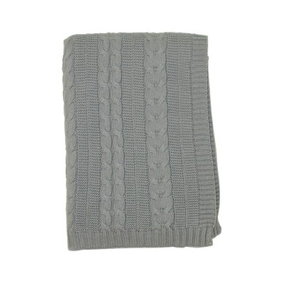 Kimberly Grant Cable Knit Blanket - Gray