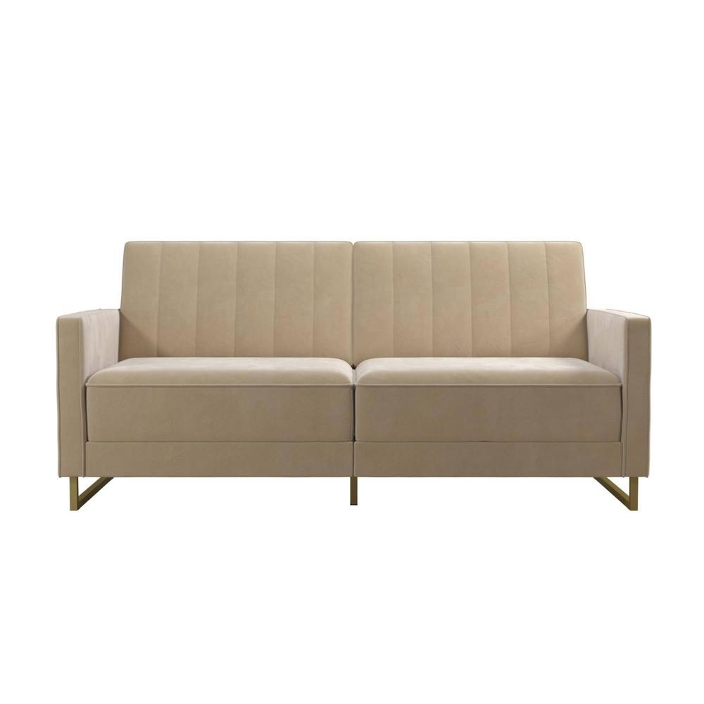 Skylar Coil Futon Modern Sofa Bed And Couch Ivory Velvet Novogratz