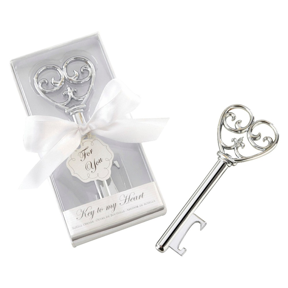 "Image of ""12ct """"Key To My Simply Elegant Heart"""" Bottle Opener"""