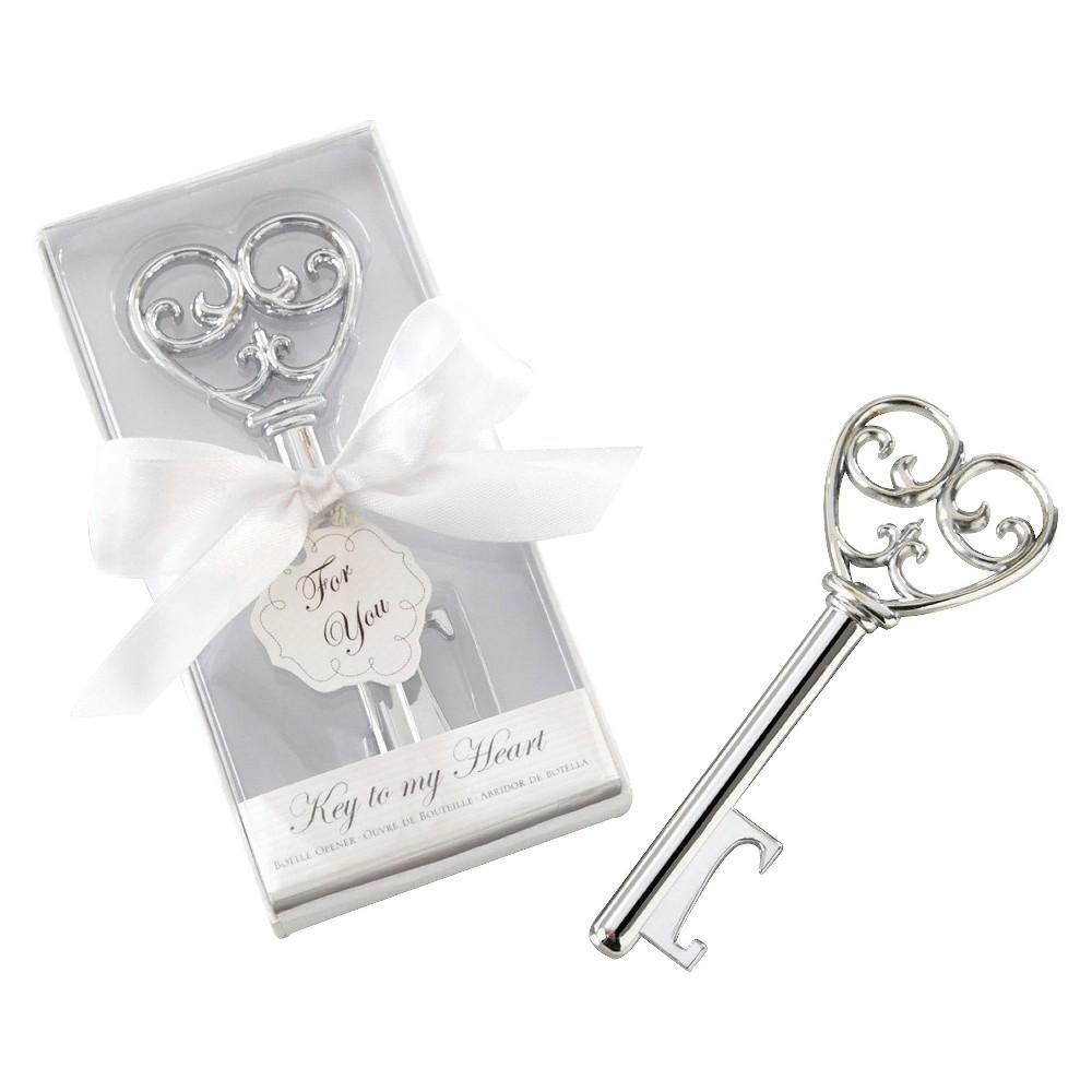 12ct Kate Aspen Simply Elegant Key To My Heart Bottle Opener, Silver